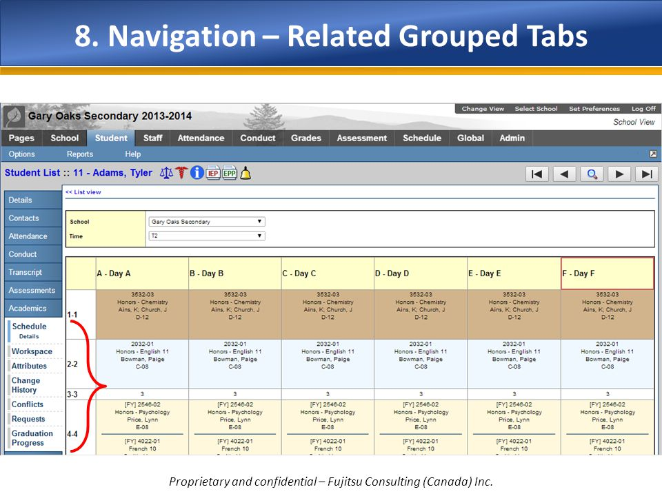 8. Navigation – Related Grouped Tabs