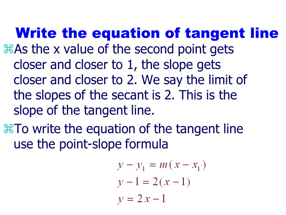 Write the equation of tangent line