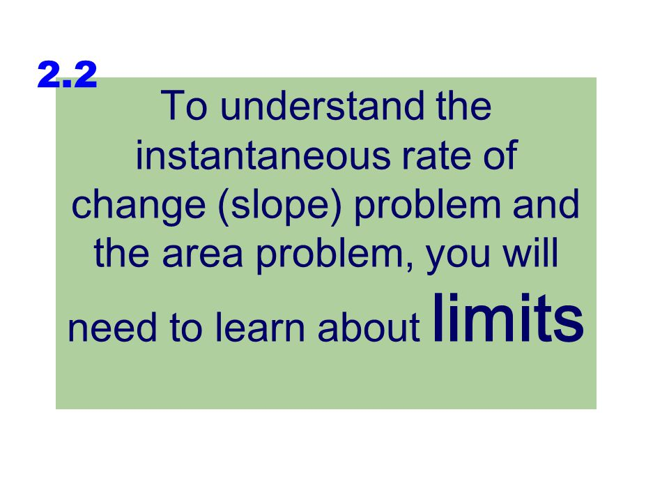 2.2 To understand the instantaneous rate of change (slope) problem and the area problem, you will need to learn about limits.