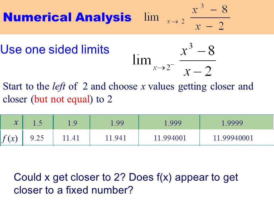 Numerical Analysis Use one sided limits