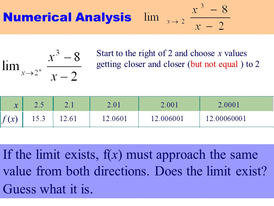 Numerical Analysis Start to the right of 2 and choose x values getting closer and closer (but not equal ) to 2.