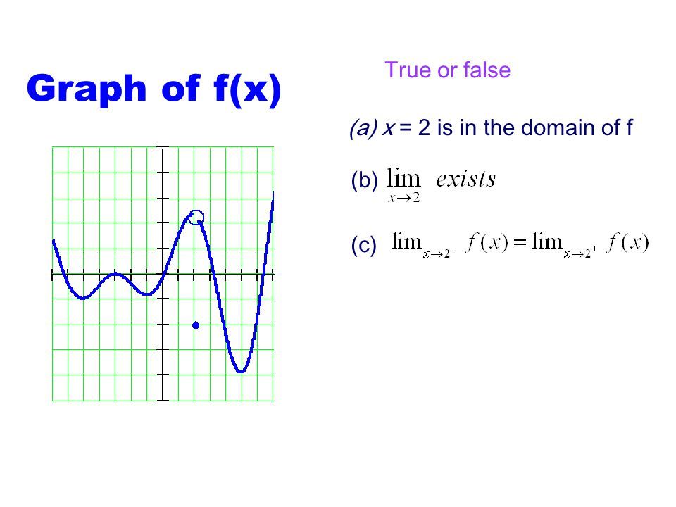 Graph of f(x) True or false x = 2 is in the domain of f (b) (c)