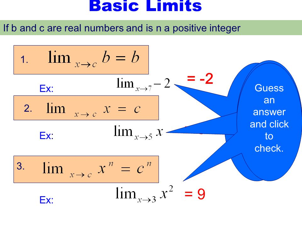 Basic Limits If b and c are real numbers and is n a positive integer. 1. Guess an answer and click to check.