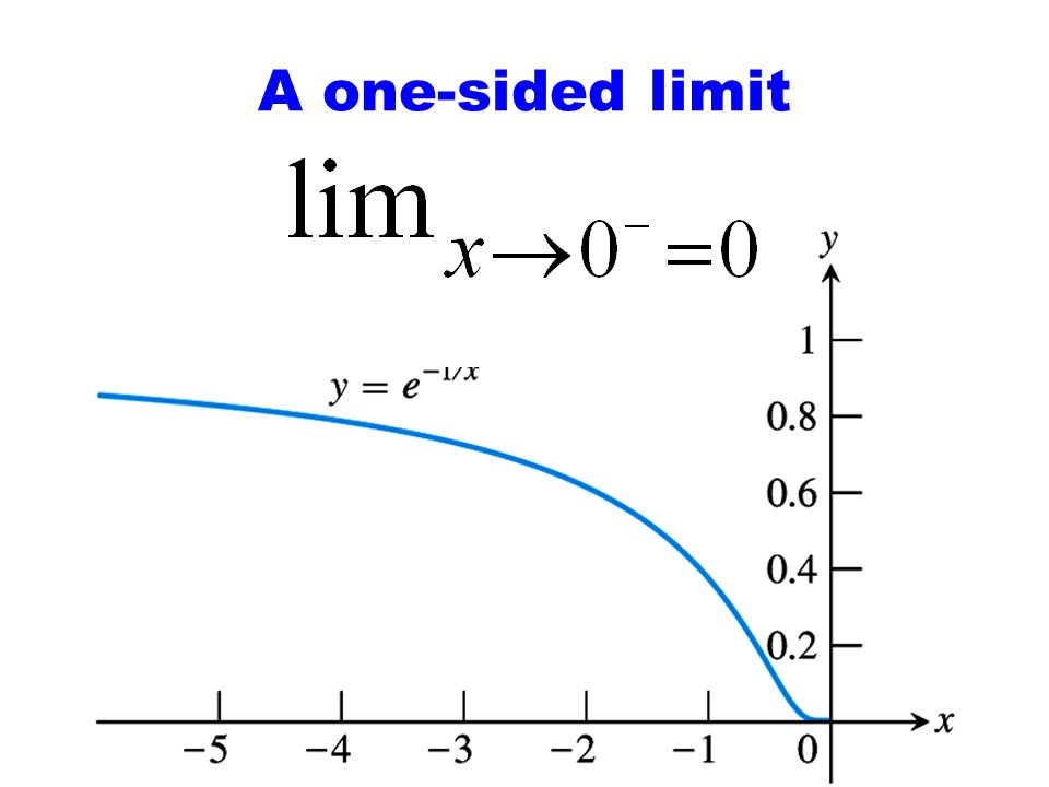 A one-sided limit Figure 1.37: The graph of y = e1/x for x < 0 shows limx0– e1/x = 0.