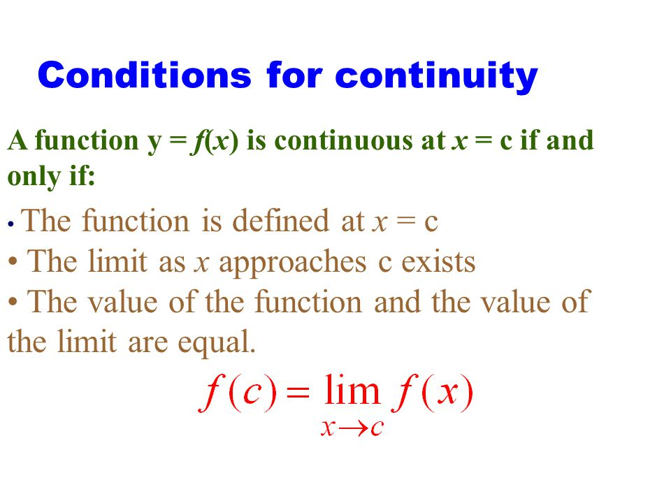 Conditions for continuity