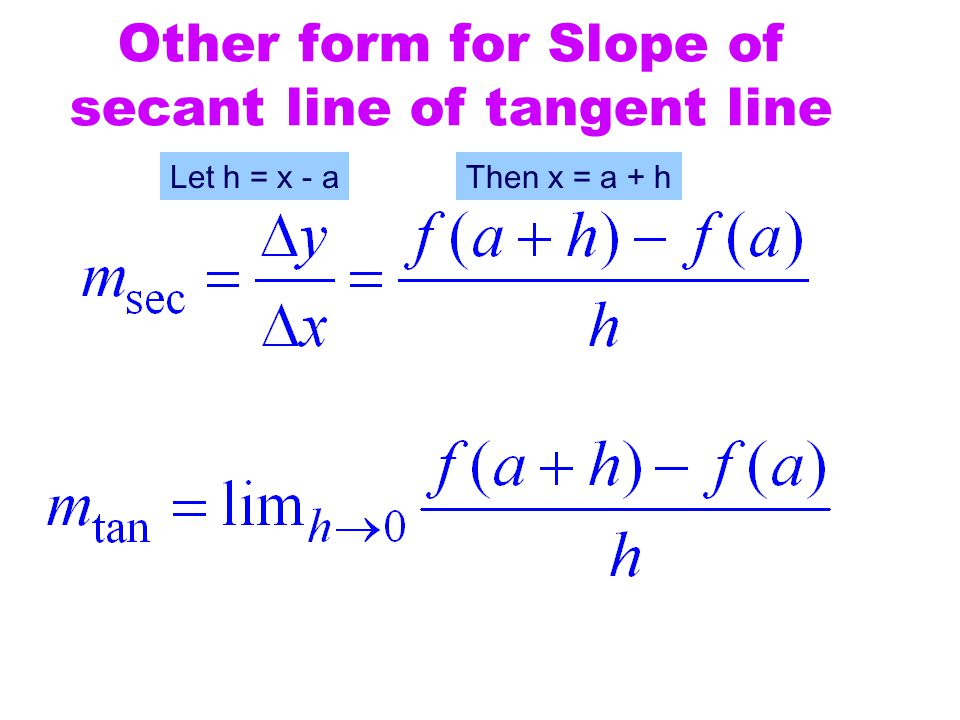 Other form for Slope of secant line of tangent line