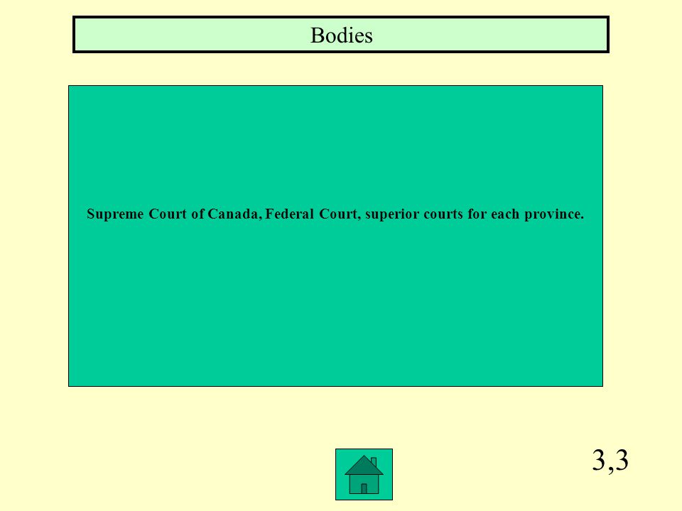Bodies Supreme Court of Canada, Federal Court, superior courts for each province. 3,3
