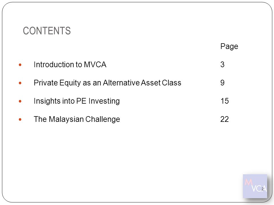 CONTENTS Page Introduction to MVCA 3