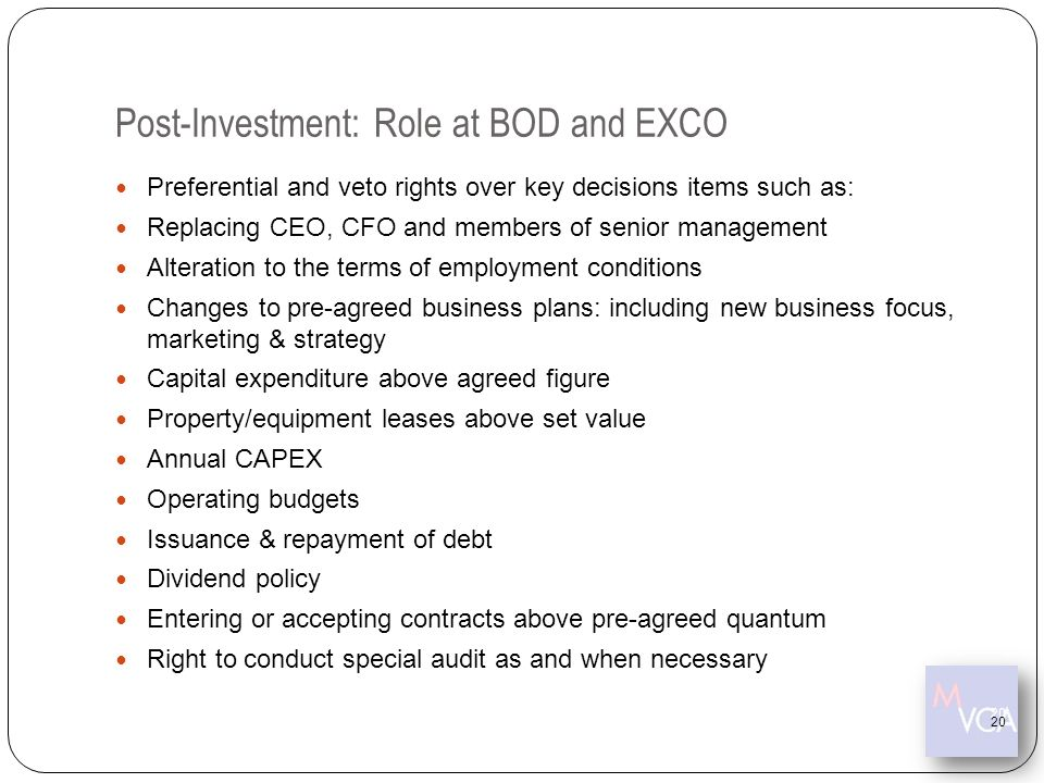 Post-Investment: Role at BOD and EXCO