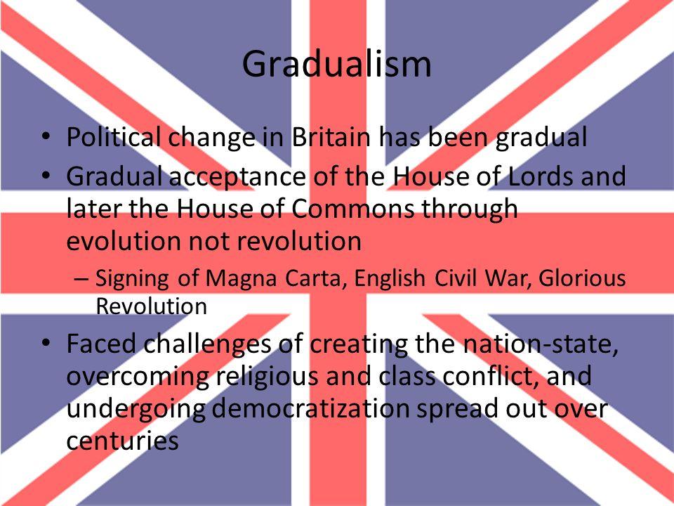 Gradualism Political change in Britain has been gradual