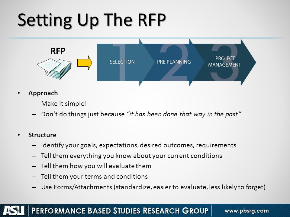 Setting Up The RFP RFP Approach Make it simple!