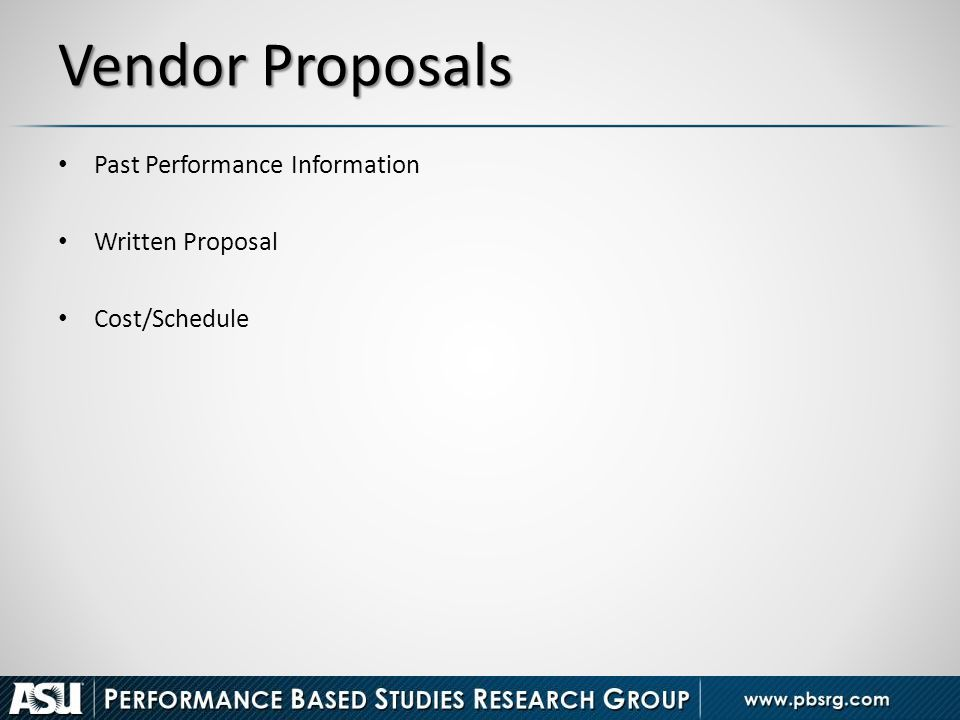 Vendor Proposals Past Performance Information Written Proposal