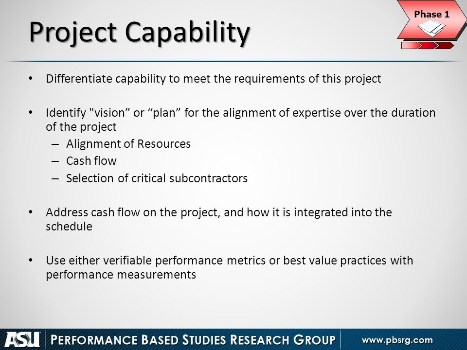 Phase 1 Project Capability. Differentiate capability to meet the requirements of this project.