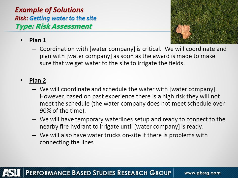 Example of Solutions Risk: Getting water to the site