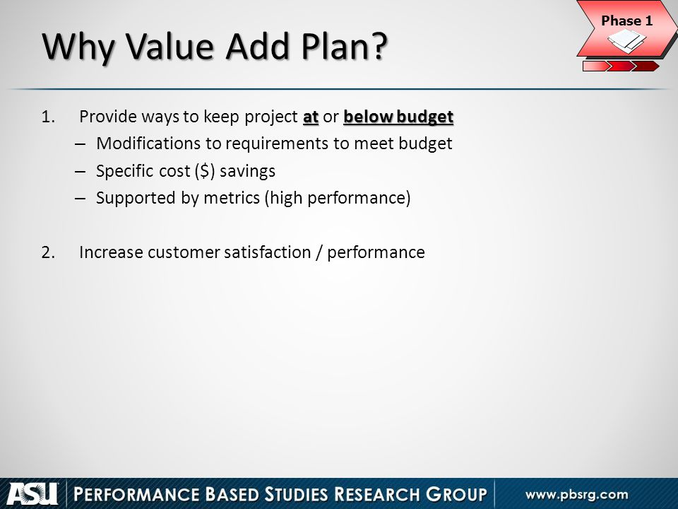 Why Value Add Plan Provide ways to keep project at or below budget
