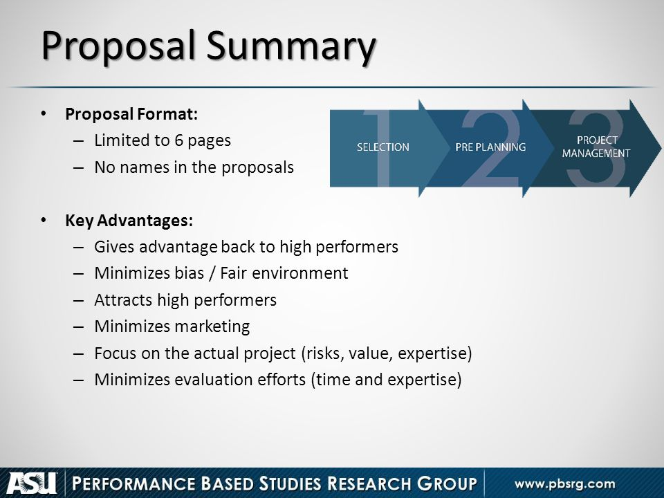 Proposal Summary Proposal Format: Limited to 6 pages