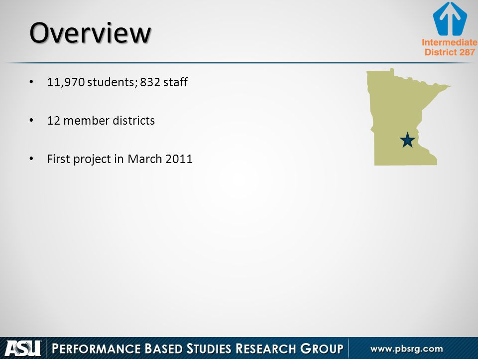 Overview 11,970 students; 832 staff 12 member districts