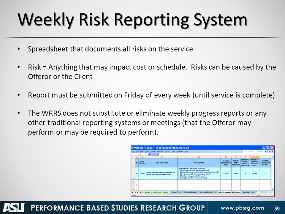 Weekly Risk Reporting System