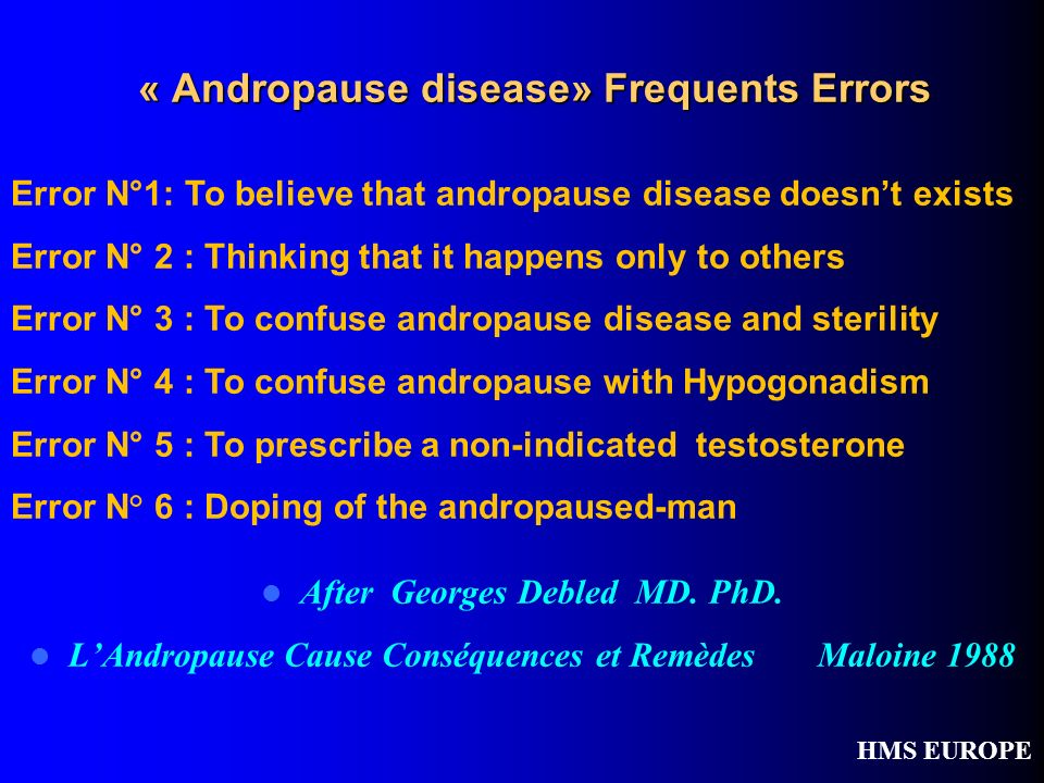 « Andropause disease» Frequents Errors