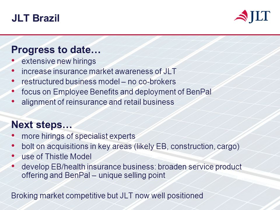 JLT Brazil Progress to date… Next steps… extensive new hirings