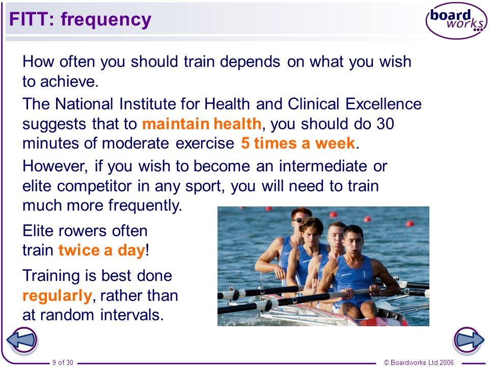 FITT: frequency How often you should train depends on what you wish to achieve.