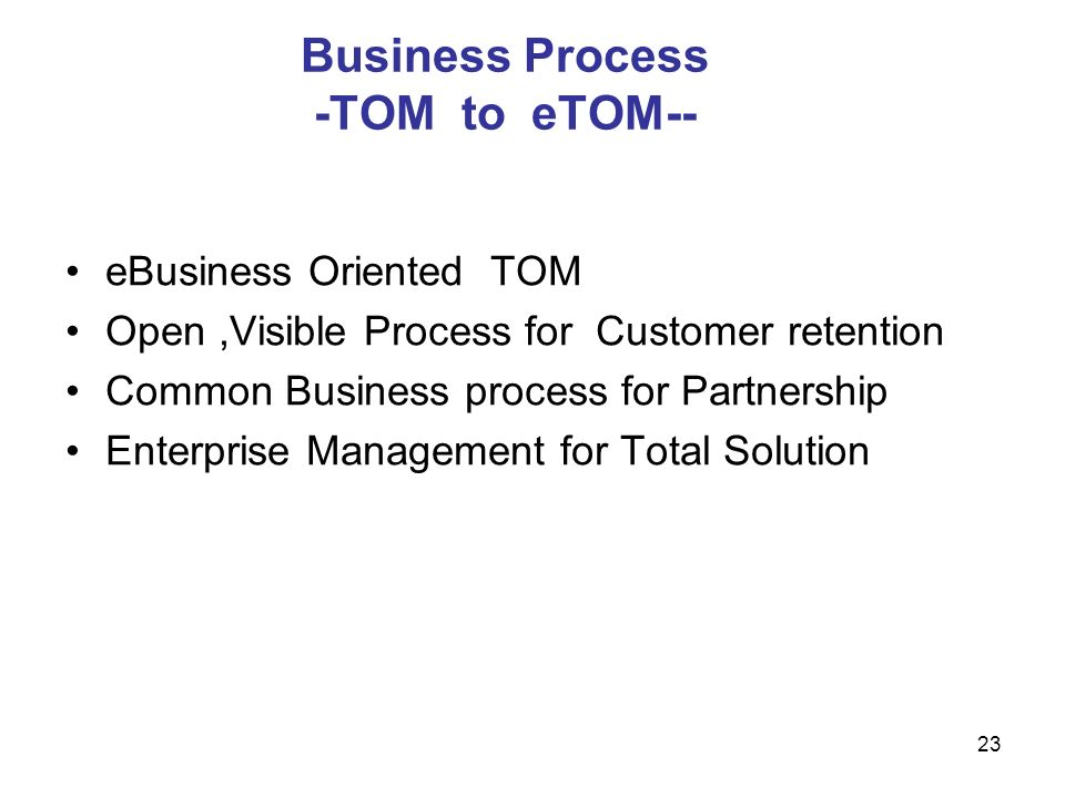Business Process -TOM to eTOM--