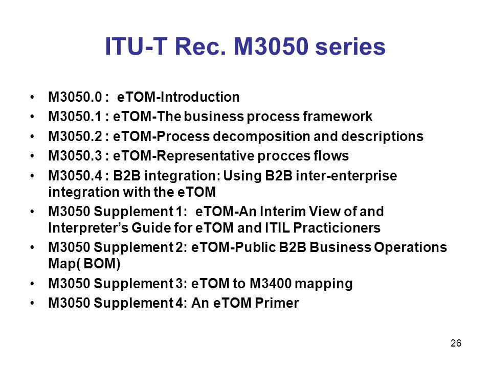ITU-T Rec. M3050 series M3050.0 : eTOM-Introduction