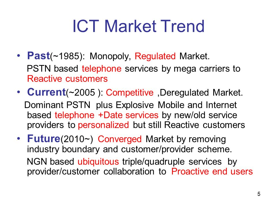 ICT Market Trend Past(~1985): Monopoly, Regulated Market.
