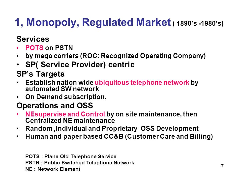 1, Monopoly, Regulated Market ( 1890's -1980's)
