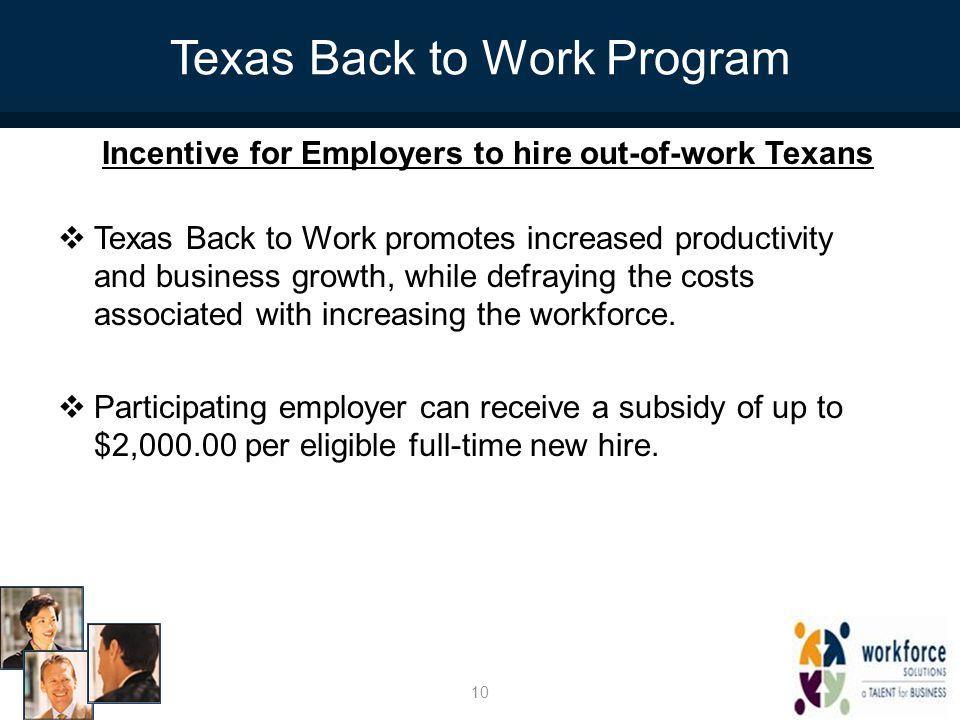 Texas Back to Work Program