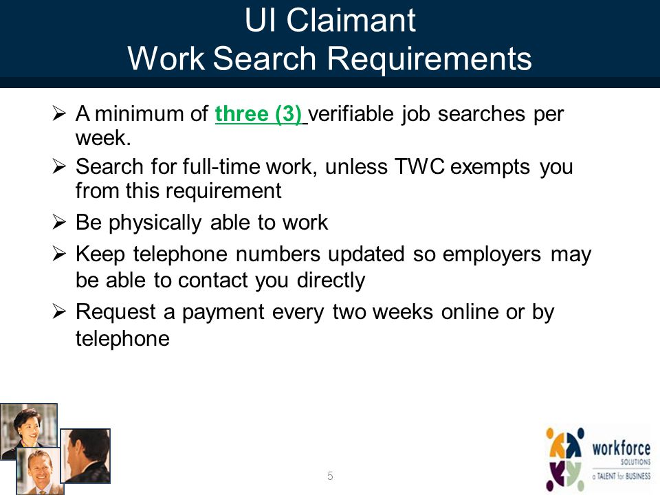 UI Claimant Work Search Requirements