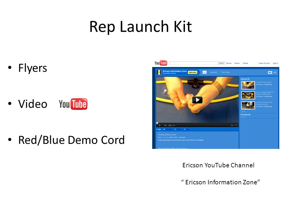 Rep Launch Kit Flyers Video Red/Blue Demo Cord Ericson YouTube Channel