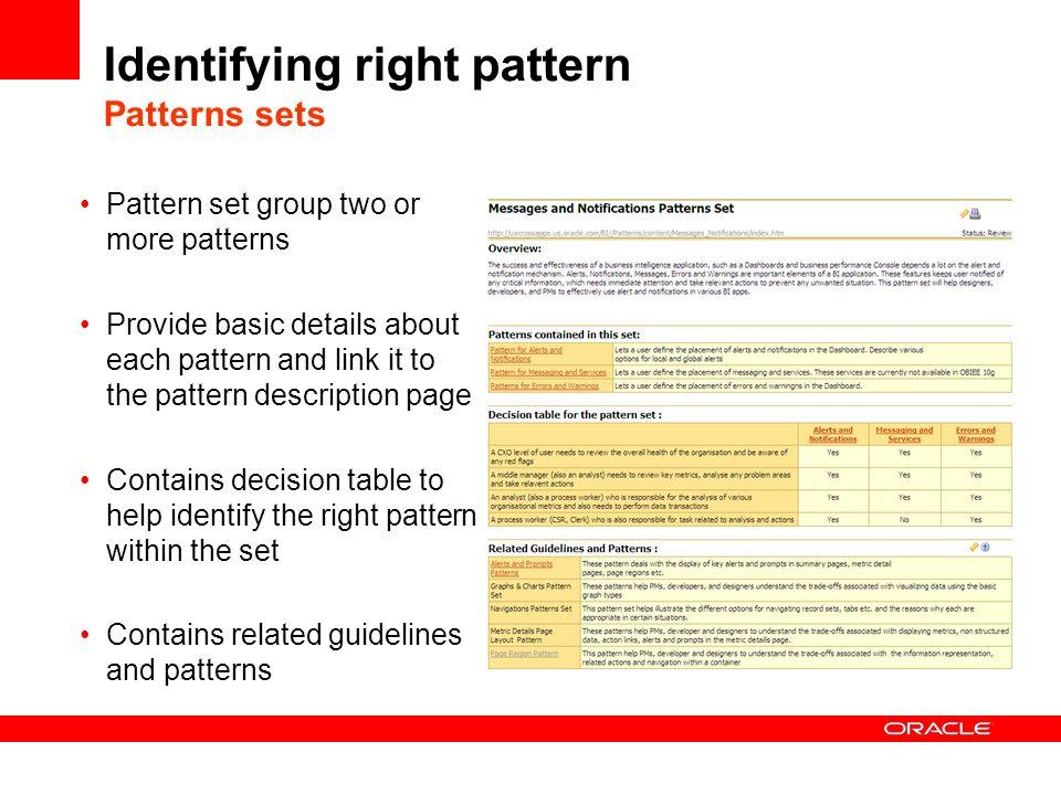 Identifying right pattern Patterns sets