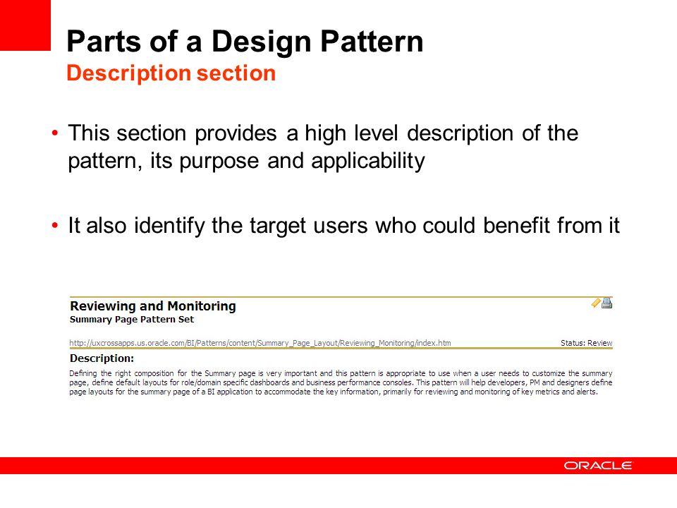 Parts of a Design Pattern Description section