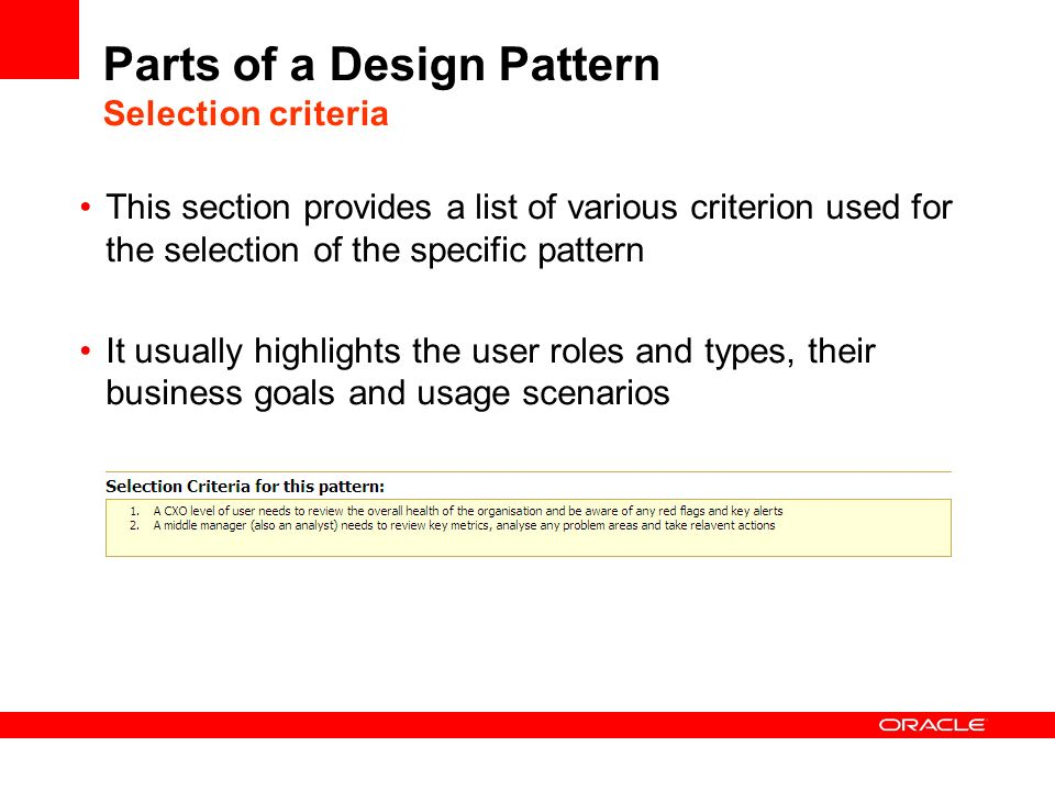 Parts of a Design Pattern Selection criteria