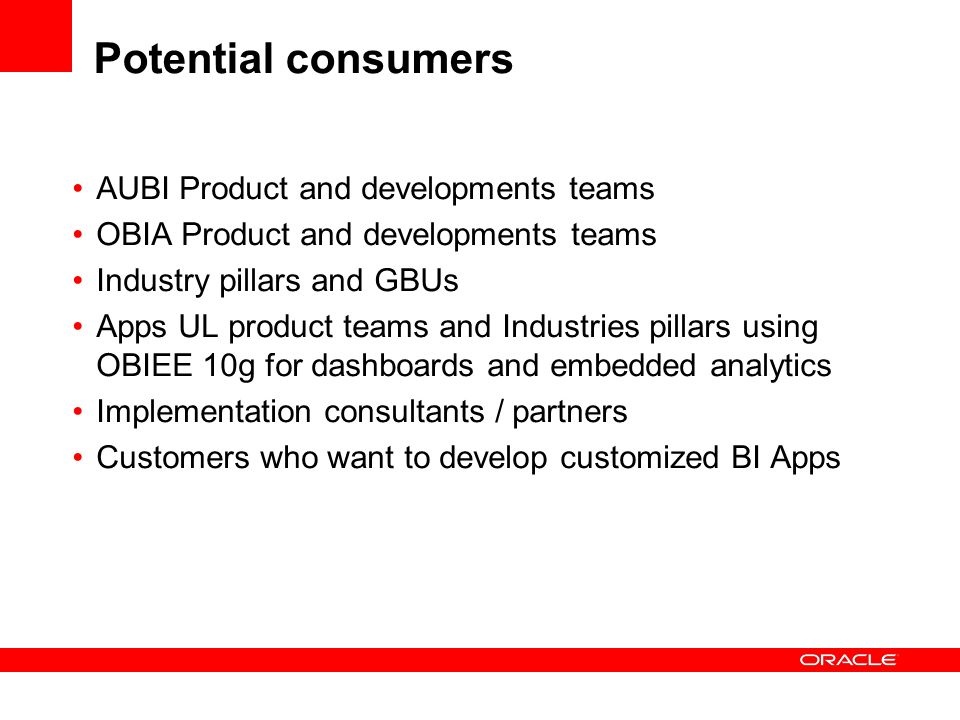 Potential consumers AUBI Product and developments teams