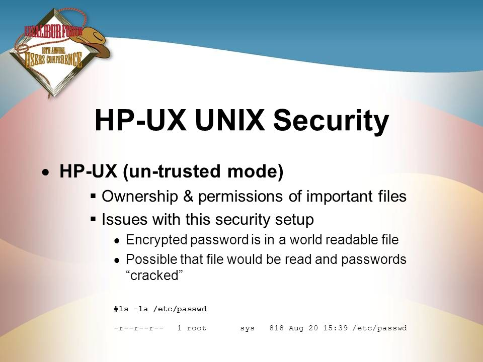 HP-UX UNIX Security HP-UX (un-trusted mode)