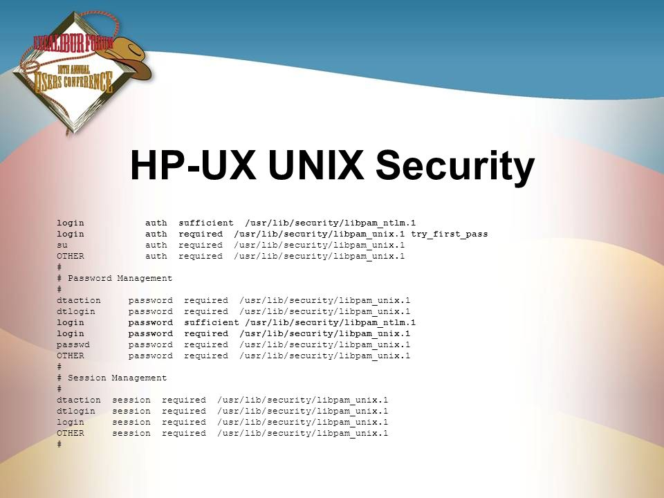 HP-UX UNIX Security login auth sufficient /usr/lib/security/libpam_ntlm.1.