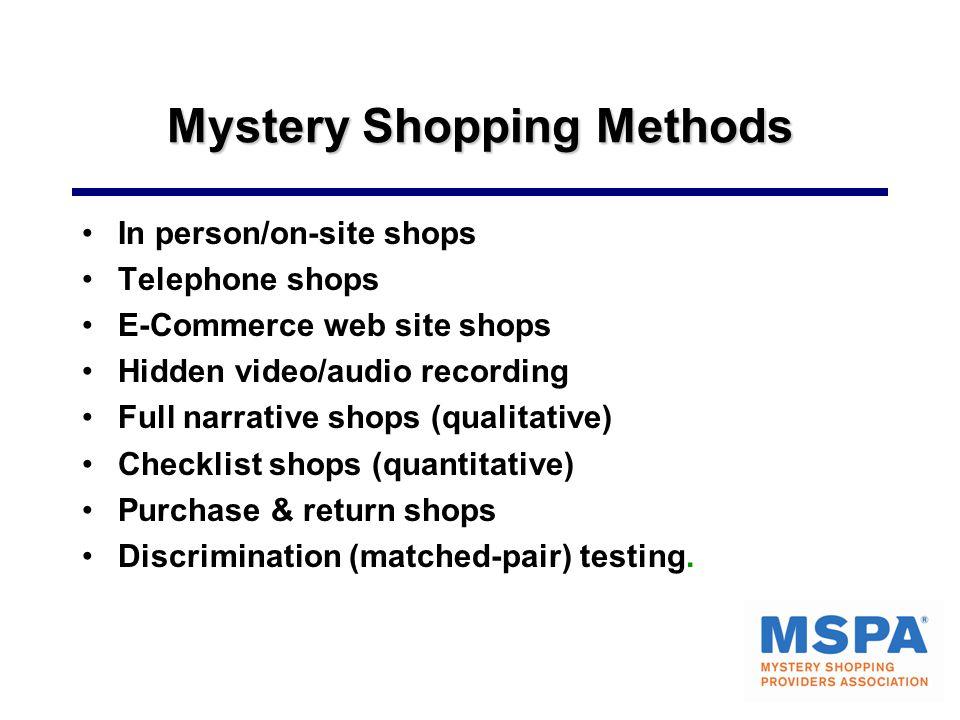 Mystery Shopping Methods