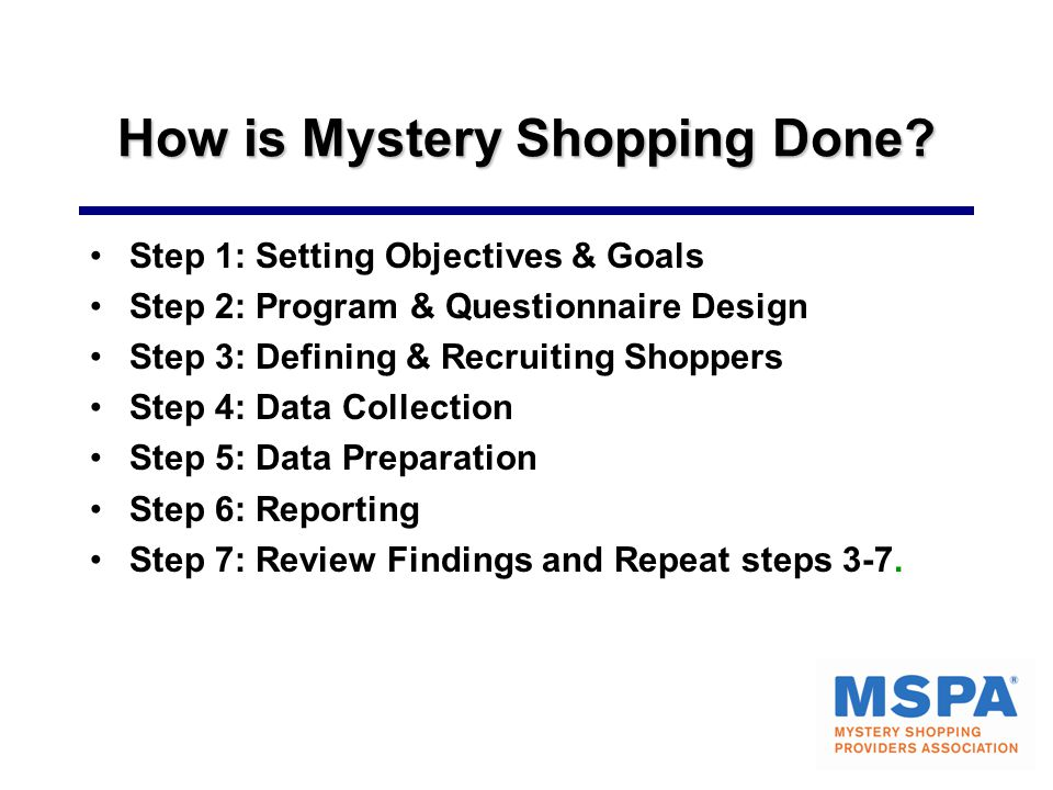 How is Mystery Shopping Done