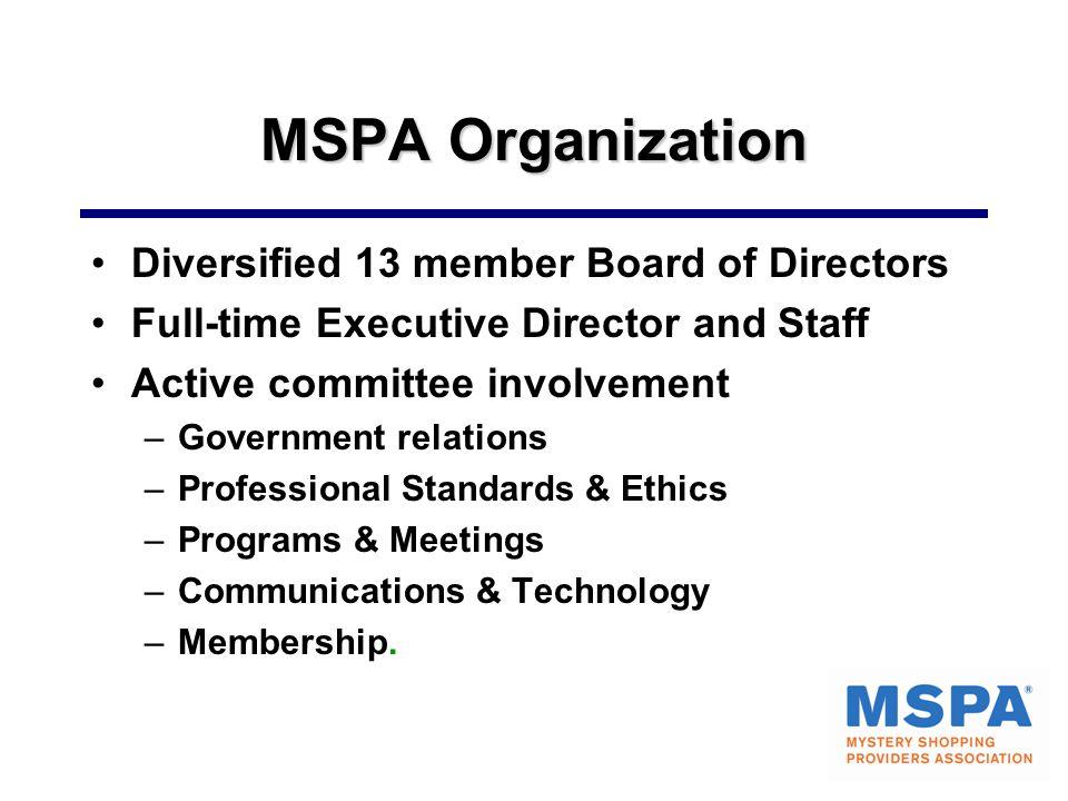 MSPA Organization Diversified 13 member Board of Directors