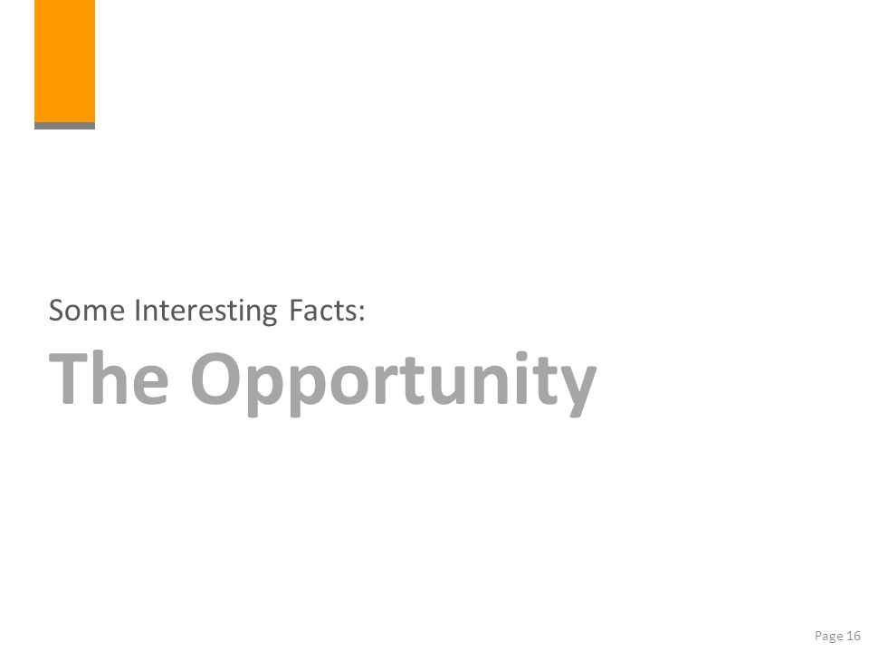 Some Interesting Facts: The Opportunity