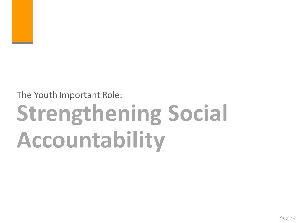 The Youth Important Role: Strengthening Social Accountability