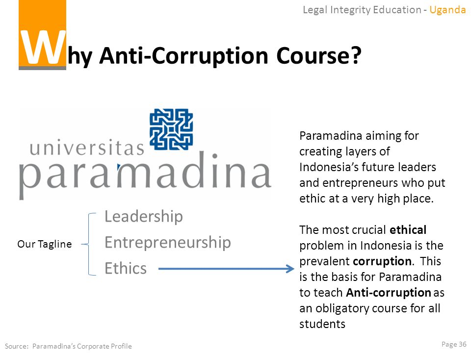 Why Anti-Corruption Course