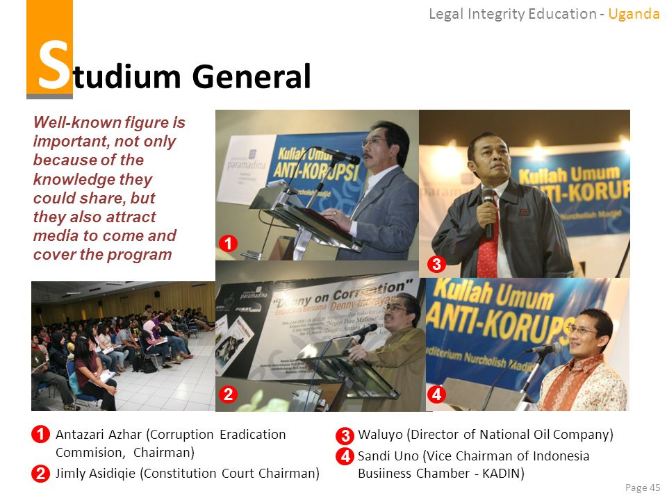 Studium General Legal Integrity Education - Uganda 1 3 2 4 1 3 4 2