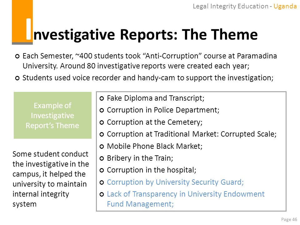 Investigative Reports: The Theme