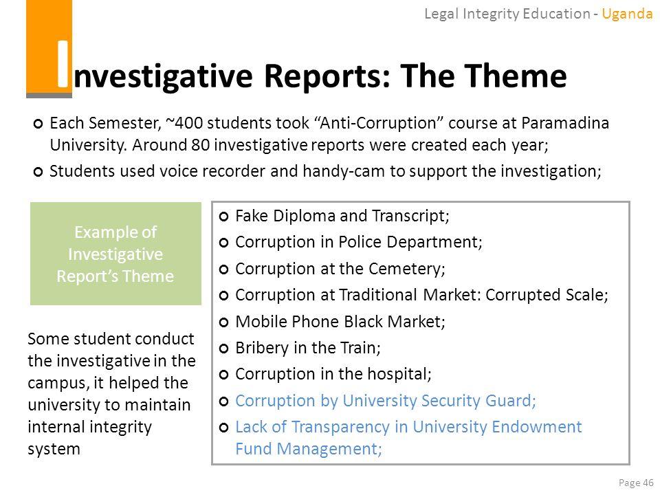 Investigative Reports: The Theme