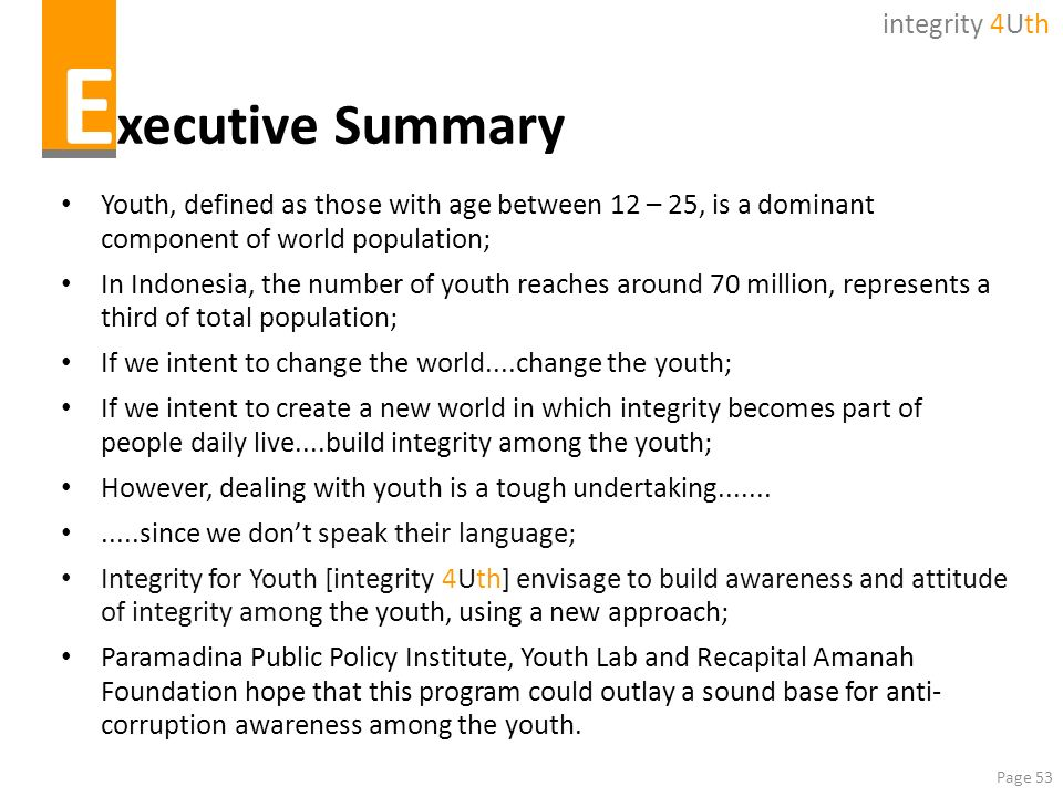 Executive Summary integrity 4Uth