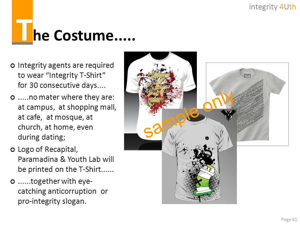 The Costume..... sample only integrity 4Uth