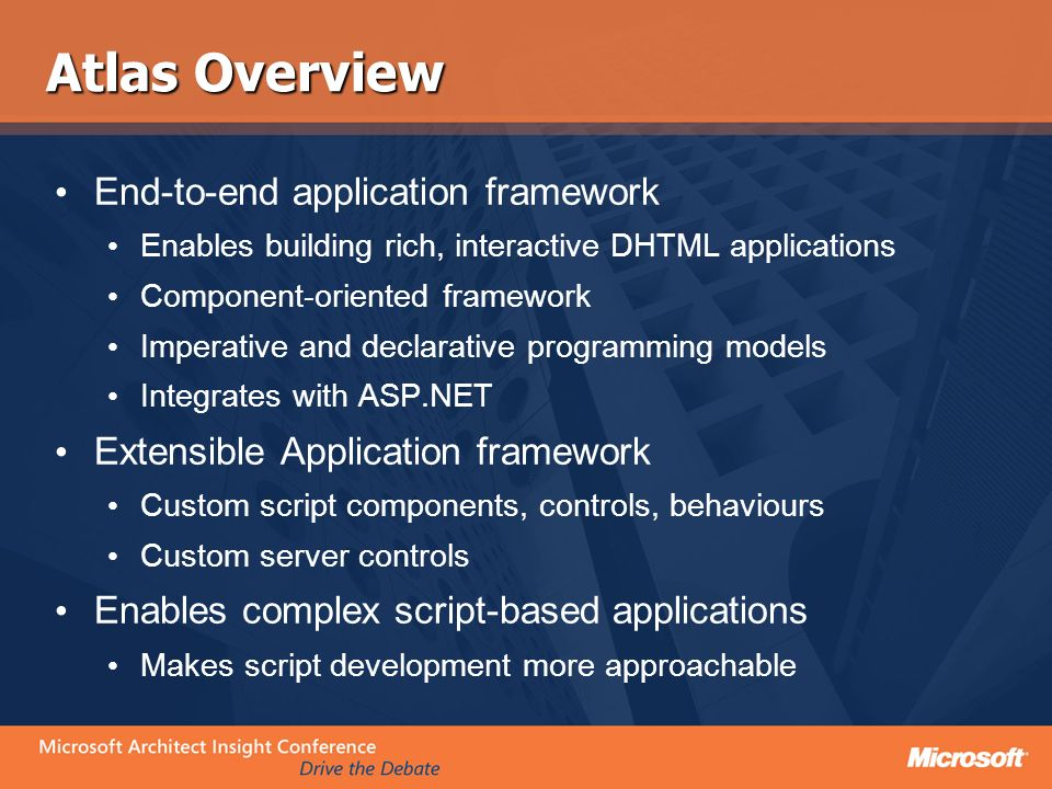 Atlas Overview End-to-end application framework